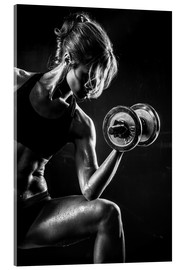 Vetro acrilico  Sportswoman with dumbbell