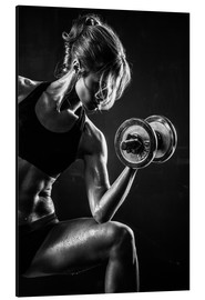 Alluminio Dibond  Sportswoman with dumbbell