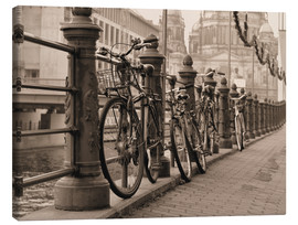 Stampa su tela  Bicycles on a promenade