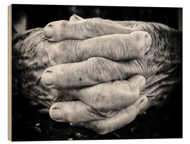 Stampa su legno  Hands of an old man