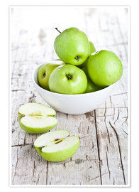 Poster Premium  Green apples in a bowl