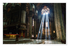 Poster Premium  Beams of Light inside Milan Cathedral