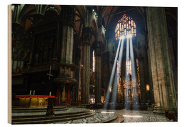 Stampa su legno  Beams of Light inside Milan Cathedral