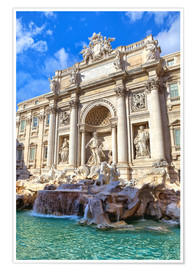 Poster Premium  Trevi Fountain under blue sky