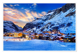 Poster Premium Val d'Isere at sunset