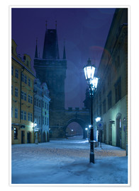Poster  Street in Prague on a winter morning