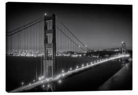 Stampa su tela  Evening Cityscape of Golden Gate Bridge - Melanie Viola