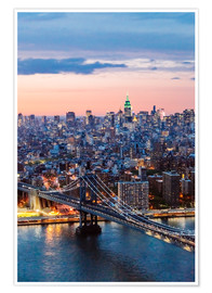 Poster Premium Manhattan bridge and skyline