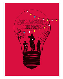 Poster Premium  Stranger Things, versione alternativa in rosso - Golden Planet Prints