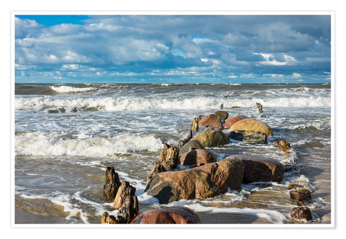 Poster Premium Baltic Sea coast on a stormy day