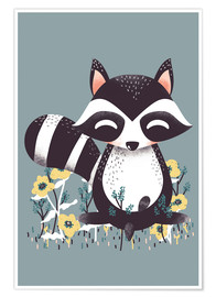 Poster Premium  Animal friends - The raccoon - Kanzilue