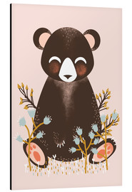 Alluminio Dibond  Animal friends - The bear pink - Kanzi Lue
