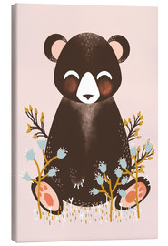 Tela  Animal friends - The bear pink - Kanzi Lue