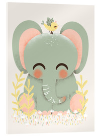 Vetro acrilico  Animal friends - The elephant - Kanzi Lue