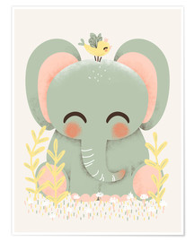 Poster Premium  Animal friends - The elephant - Kanzi Lue