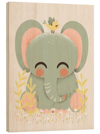 Stampa su legno  Animal friends - The elephant - Kanzi Lue
