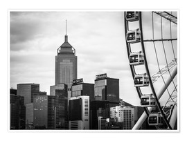 Poster Premium Hong Kong Ferris Wheel in black and white