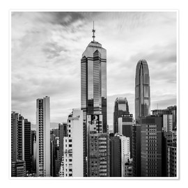 Poster Premium Houses Sea Hong Kong in black and white