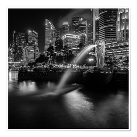 Poster Premium Merlion Singapore black and white
