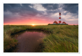 Poster Premium Terp Inferno (Westerhever Lighthouse)
