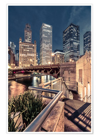 Poster Premium  Night Walk Chicago - Sören Bartosch