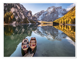 Poster Premium  Autumn at Lake Braies (Lago di Braies), Dolomites - Italy - Achim Thomae