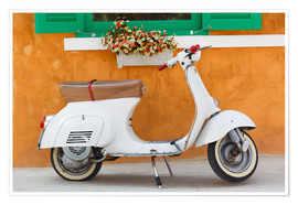 Poster Premium  White scooter in front of a window