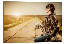 Stampa su alluminio  Biker girl in a brown leather jacket