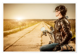 Poster Premium  Biker girl in a brown leather jacket