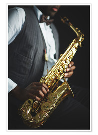 Poster Premium Saxophone held by a jazzman