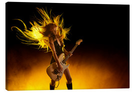 Stampa su tela  Rock girl with an electric guitar