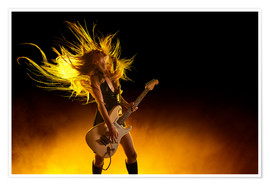Poster Premium  Rock girl with an electric guitar