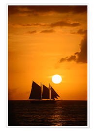 Poster Premium Sailing ship and sunset, Key West