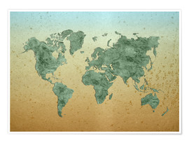 Poster Premium Vintage World Map