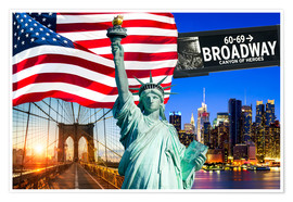 Poster Premium New York City Photo Collage with Statue of Liberty