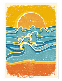 Poster Premium  Sea waves and yellow sand beach - Kidz Collection