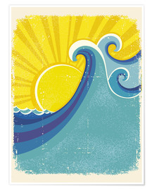 Poster Premium  Sea waves in the sun