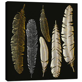 Stampa su tela  Feathers in Gold and Silver