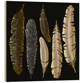 Stampa su legno  Feathers in Gold and Silver
