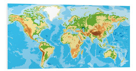 Stampa su schiuma dura  Physical World Map