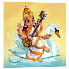 Stampa su vetro acrilico  Saraswati with a swan - Kidz Collection