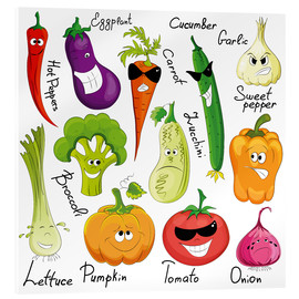 Stampa su vetro acrilico  Funny vegetables - Kidz Collection
