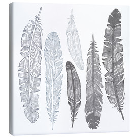 Stampa su tela  Feathers on white