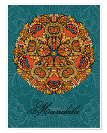 Poster Premium  Mandala on blue