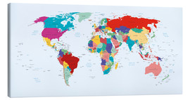 Stampa su tela  World Map - Country overview, updated 2003 - Kidz Collection