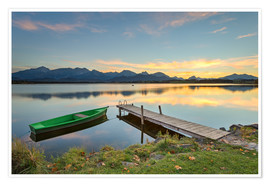 Poster Premium  Sunset at Hopfensee in Allgäu, Bavaria - Michael Valjak