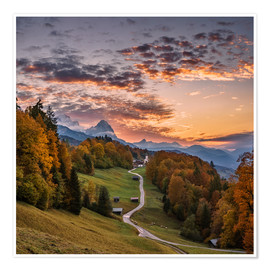 Poster Premium  Sunset over the Zugspitze Mountain, Bavaria, Germany - Achim Thomae
