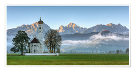 Poster Premium  Church St. Coloman in Allgaeu autumn - Michael Valjak