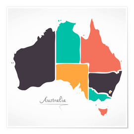 Poster Premium  Australia map modern abstract with round shapes - Ingo Menhard