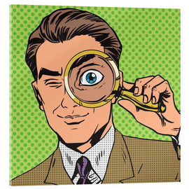 Vetro acrilico  Detective with magnifying glass